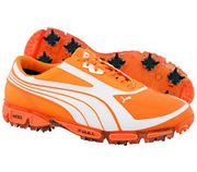 Puma amp cell fusion golf shoes orange with white stripes. size 12 men