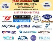 FREE -- Brantford Job Fair– March 5th,  2019