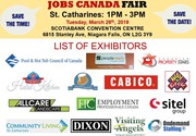 FREE: Niagara/St Catharines Job Fair – March 26th,  2019