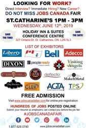 Free: St Catharine's Job Fair - June 12th,  2019